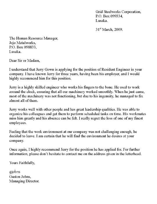 Reference Letter of Recommendation Sample | Writing a Letter of ...