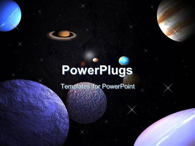 PowerPoint Template: planets in space with stars orbiting (30401)