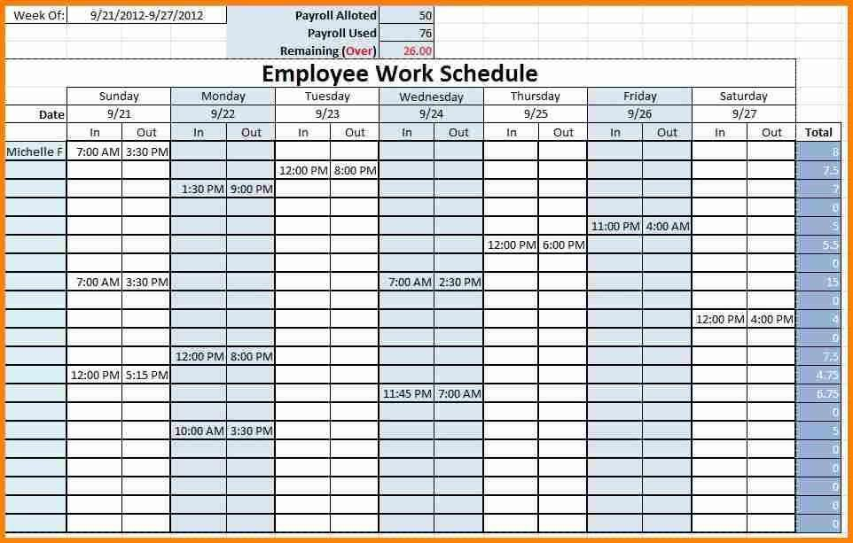 Staff Timetable Template Free Excel Employee Schedule Template ...