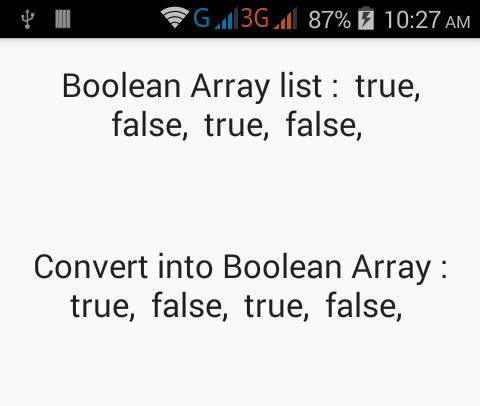 Convert Boolean ArrayList to Boolean List in Java Android ...