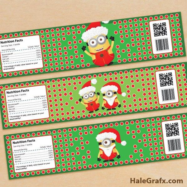 FREE Printable Christmas Minions Water Bottle Labels | ( Free ...