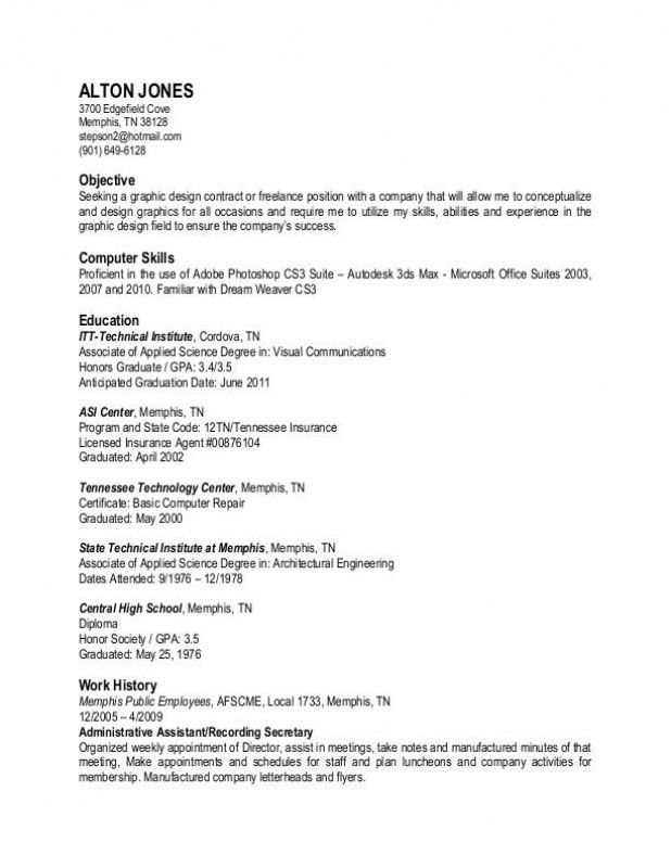 Plain Text Resume Example. curriculum vitae example of executive ...