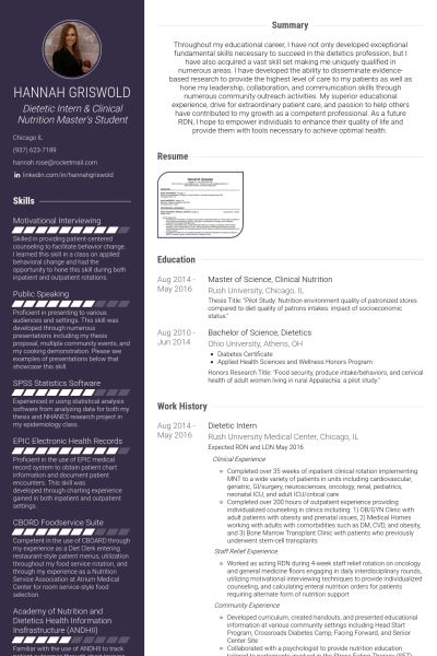 Dietetic Intern Resume samples - VisualCV resume samples database