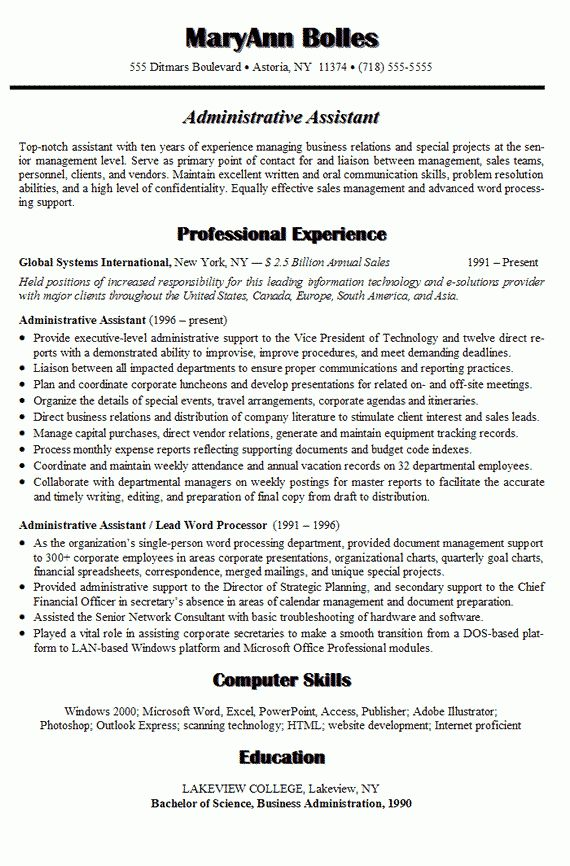 Administrative Assistant Resume Sample - Writing Resume Sample ...