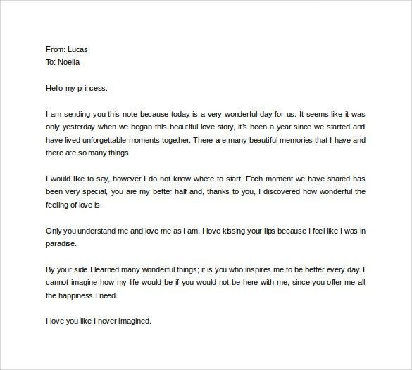 Sample Love Letter for Girlfriend - 9+ Free Documents in Word