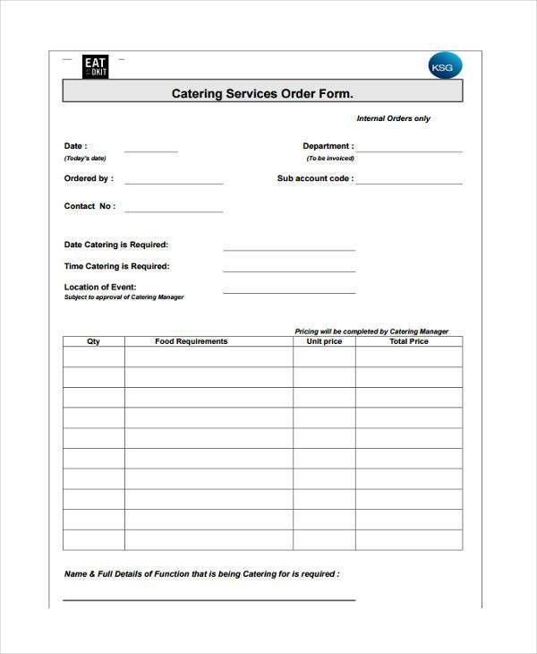 Catering Order Form. Free Downloadable Catering Contracts Forms ...