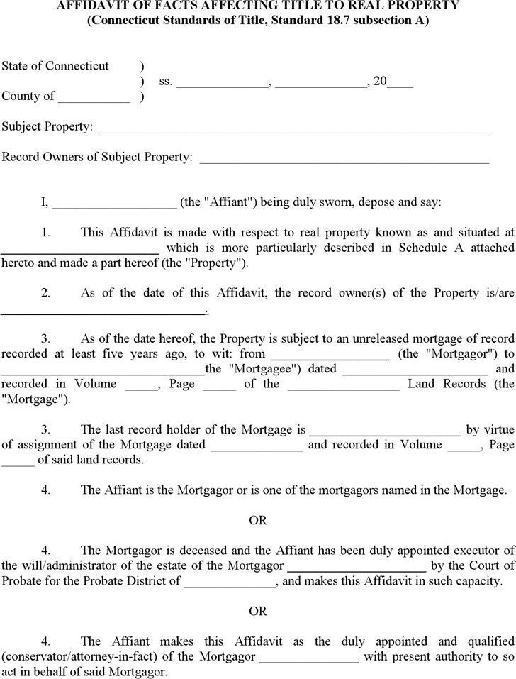 Connecticut Affidavit Form | Download Free & Premium Templates ...
