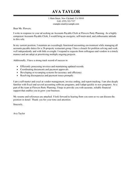 accounts payable clerk cover letter within accounts payable cover ...
