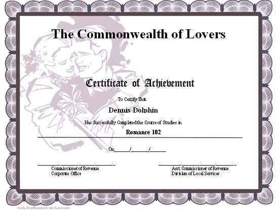 A printable certificate of achievement with a romantic couple ...