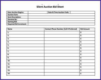 SILENT AUCTION TEMPLATE | letterproposaltemplate.com