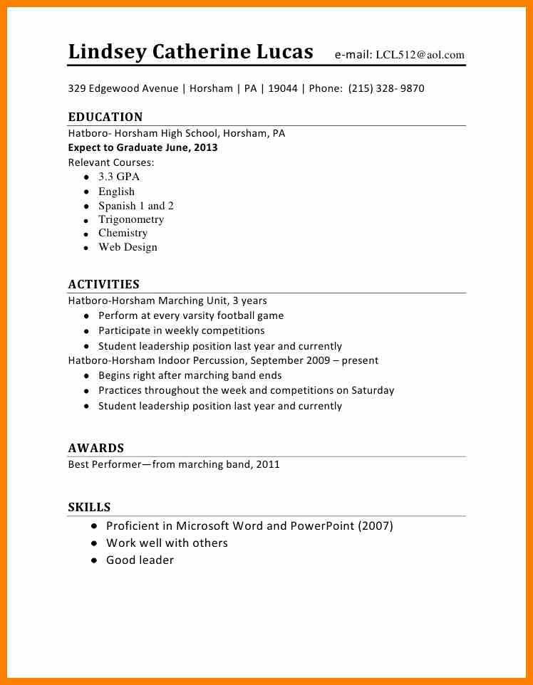 Job Resume Template For High School Student. College Students ...
