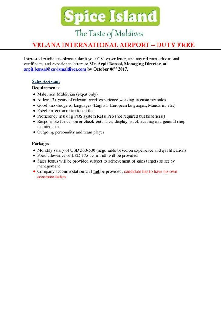 Sales Assistant Resume No Experience. 100 retail assistant resume ...