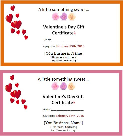 Valentine's Day Gift Certificate Editable MS Word Template ...