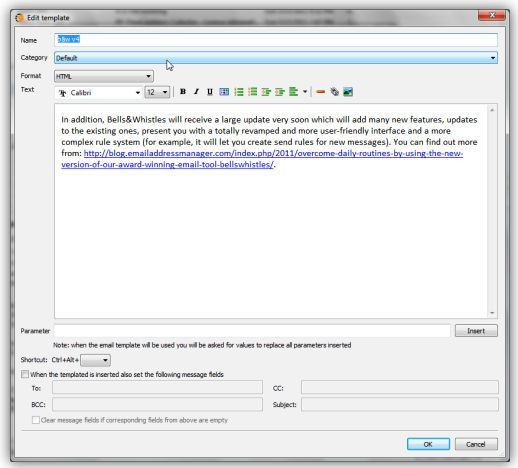 Create Outlook email templates for Outlook messages with Bells ...