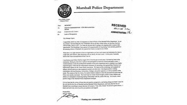 Marshall's Police Chief submits letter of resignation - Stor