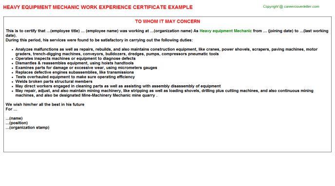 Heavy Equipment Mechanic Work Experience Certificate