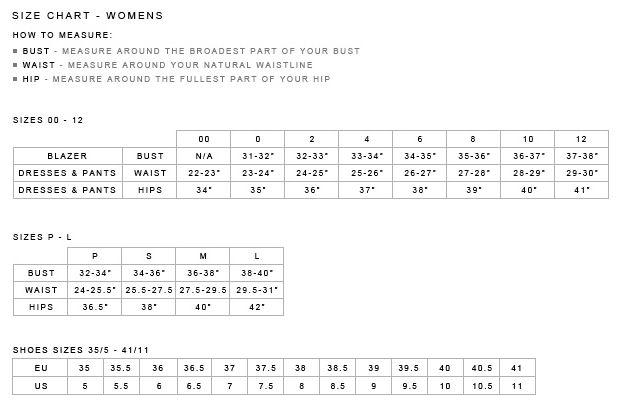 Size Chart - Women's   Theory.com