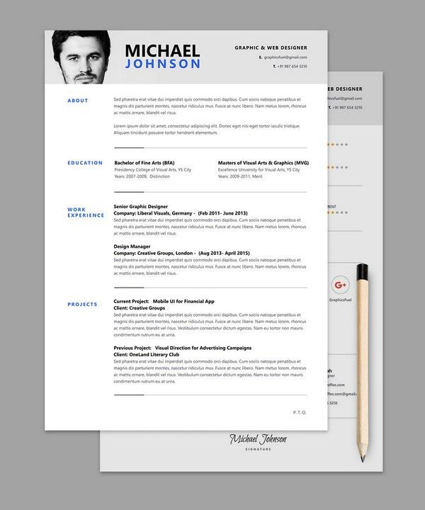 Free Psd Creative CV Resume Templates For Art Director Free Resume ...