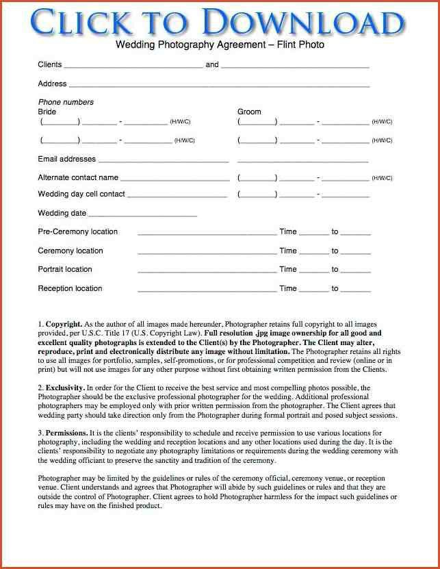 WEDDING PHOTOGRAPHY CONTRACT TEMPLATE ...