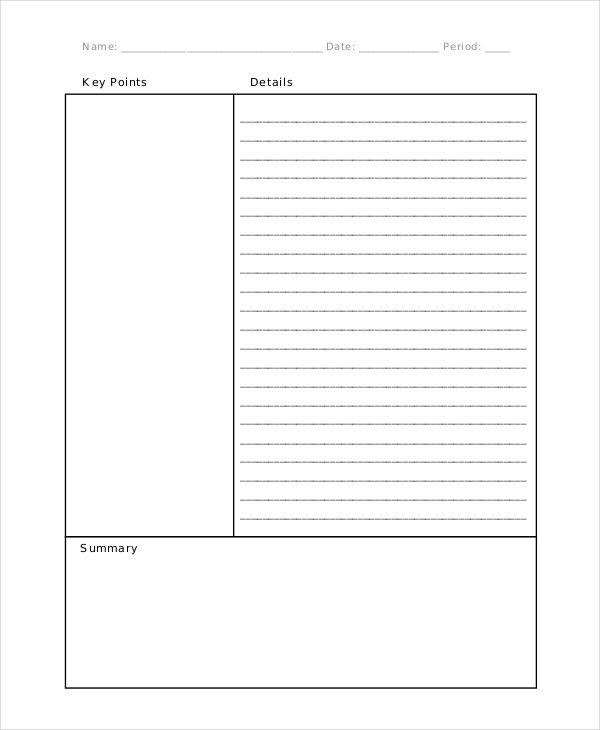 11+ Cornell Note Templates - Free Sample, Example, Format | Free ...