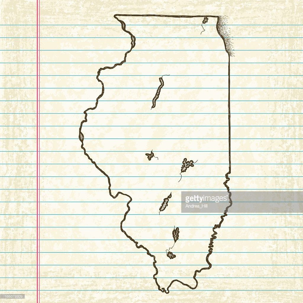 Vector Sketchy Map On Old Lined Paper Background Illinois Vector ...