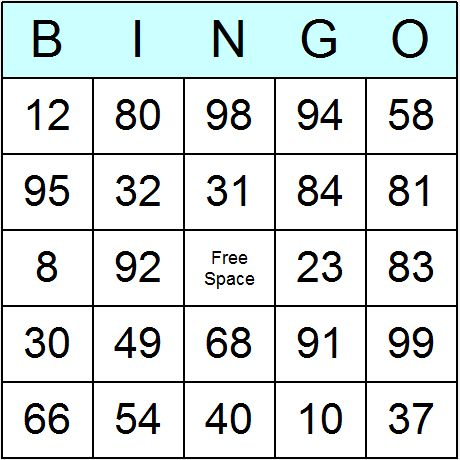 Numbers 1 to 99 Bingo Cards - Printable bingo activity, game, and ...