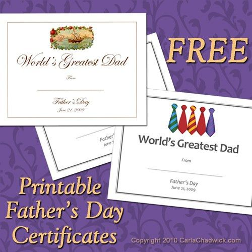 Father's Day Gift Ideas: Free Printable Gift Certificates ...