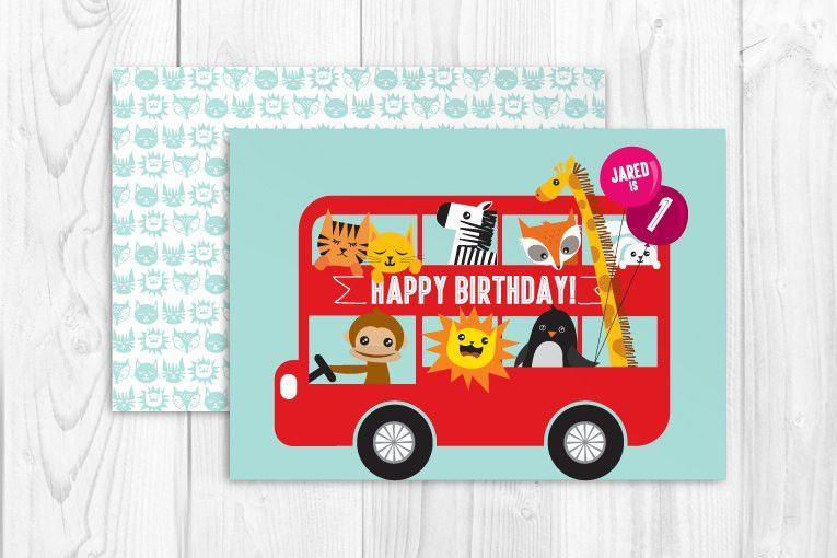 printable double decker bus birthday greeting card template