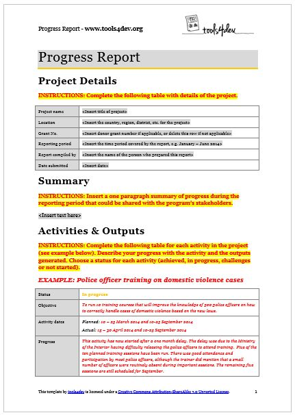 Progress Report Template | tools4dev