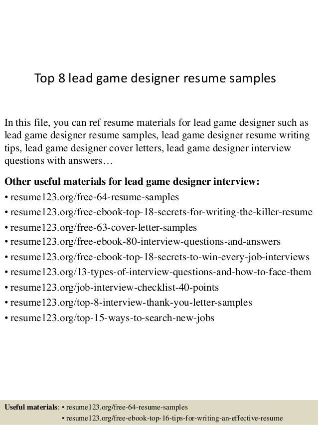sample resume exle of video game designer resume. top 8 lead game ...