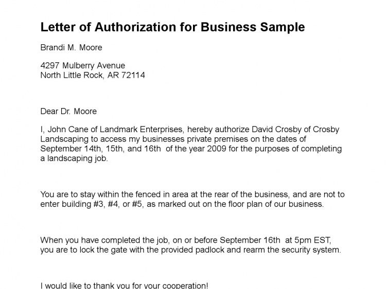 Letter of Authorization - Sample Letter of Authorization