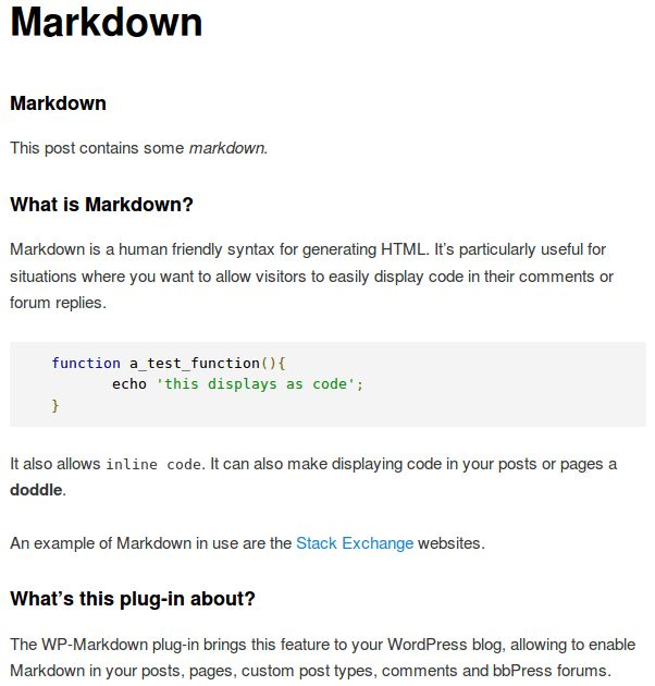 WP-Markdown — WordPress Plugins
