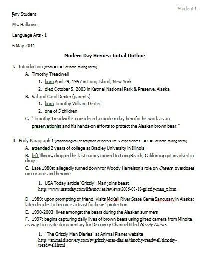 4: Initial Outline - Ms Halkovic's Website
