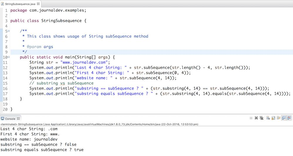 Java String subSequence Example - JournalDev