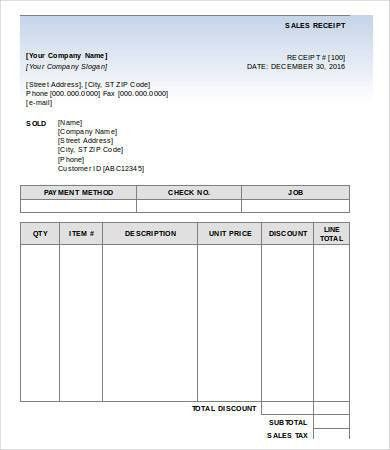 Sales Receipt Template - 6+ Free PDF, Word Documemts Download ...