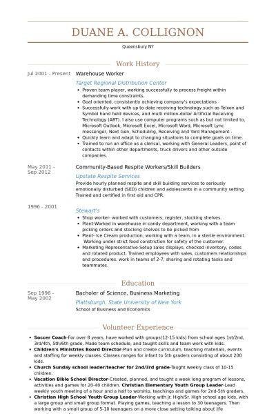 Warehouse Work Resume | Template Design