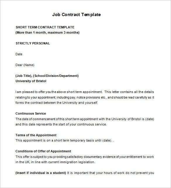 11+ Job Contract Templates – Free Word, PDF Documents Download ...