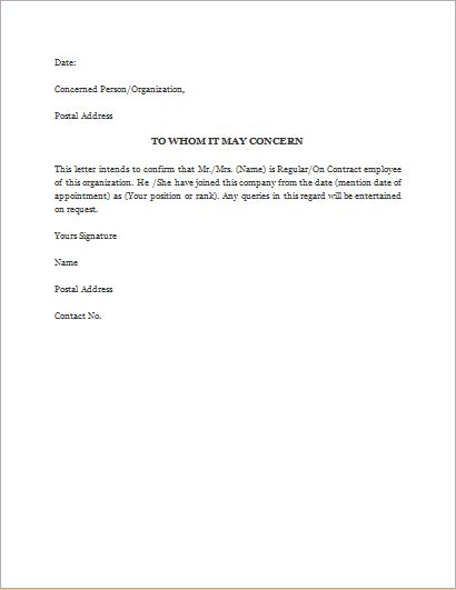 Proof of Employment Letter Template | Word & Excel Templates