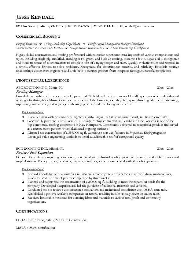 Free Roofer Resume Example