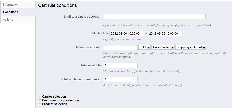 Creating Price Rules and Vouchers - PrestaShop 1.5 - PrestaShop ...