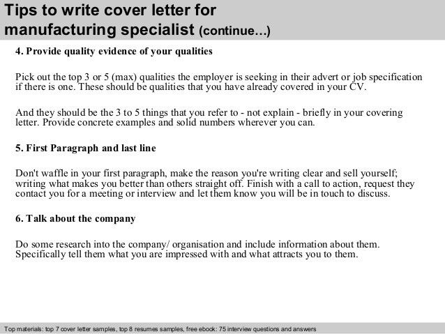 Manufacturing specialist cover letter