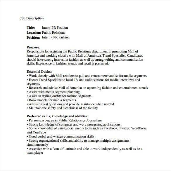 9+ Public Relation Job Description Templates - Free Sample ...