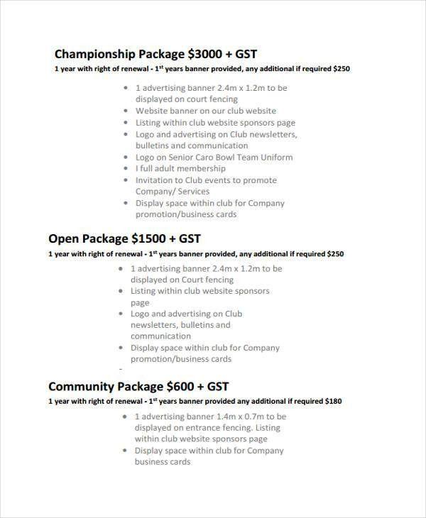 Club Sponsorship Proposal Templates - 8+ Free Word, PDF Format ...