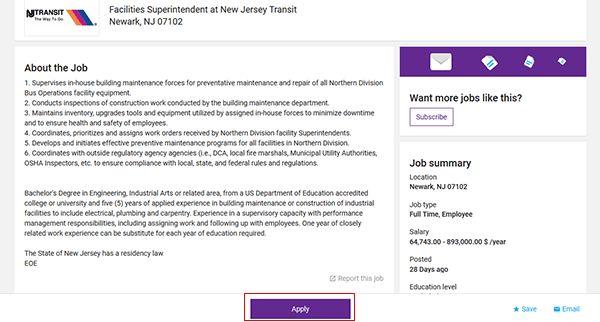 New Jersey Transit Job Application - Apply Online