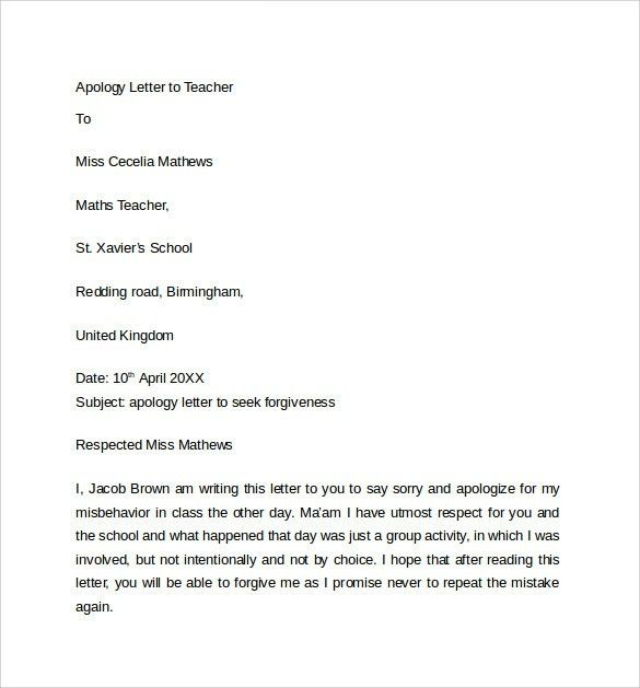 Example Of Sorry Letter Apology Letter Templates Print Paper – Format of Apology Letter