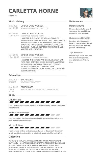 Direct Care Worker Resume samples - VisualCV resume samples database