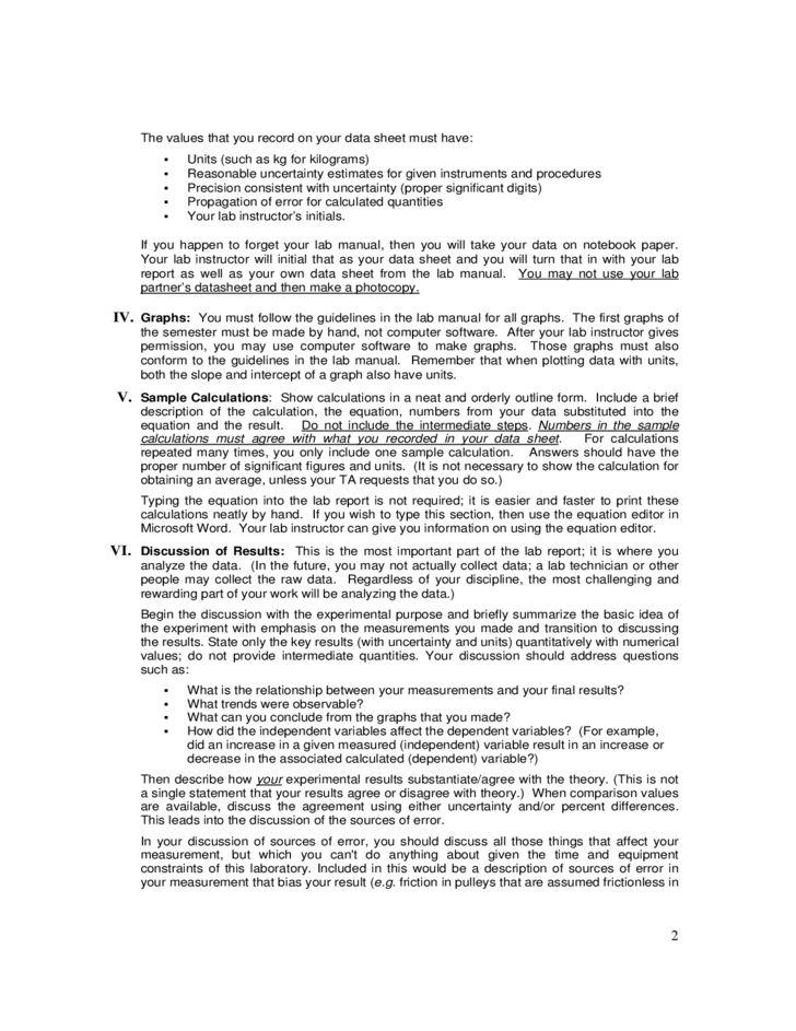 Sample Physics Lab Report Free Download