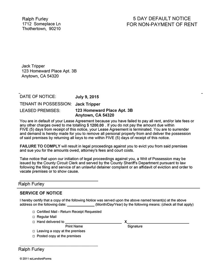 Arkansas 5 Day Notice of Default for Non-Payment of Rent