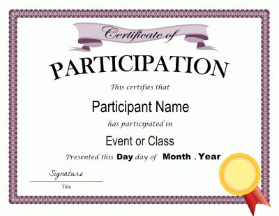 Certificate of Participation Templates | Blank Certificates