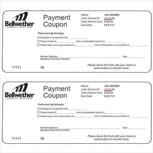 Payment Coupon Template – 10+ Free Printable PDF Documents ...